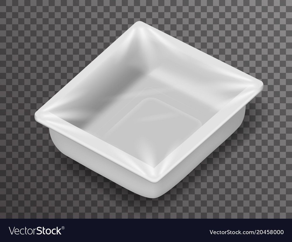 Isometric disposable food pack isolated 3d