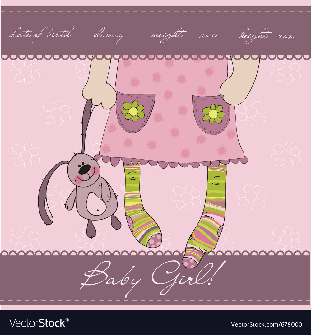 Pink baby girl card vector image
