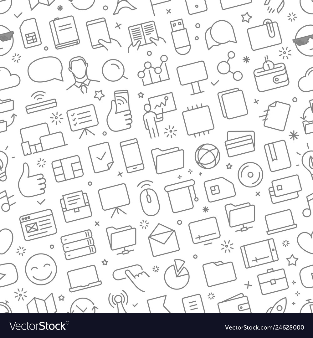 Seamless pattern of different web icons set