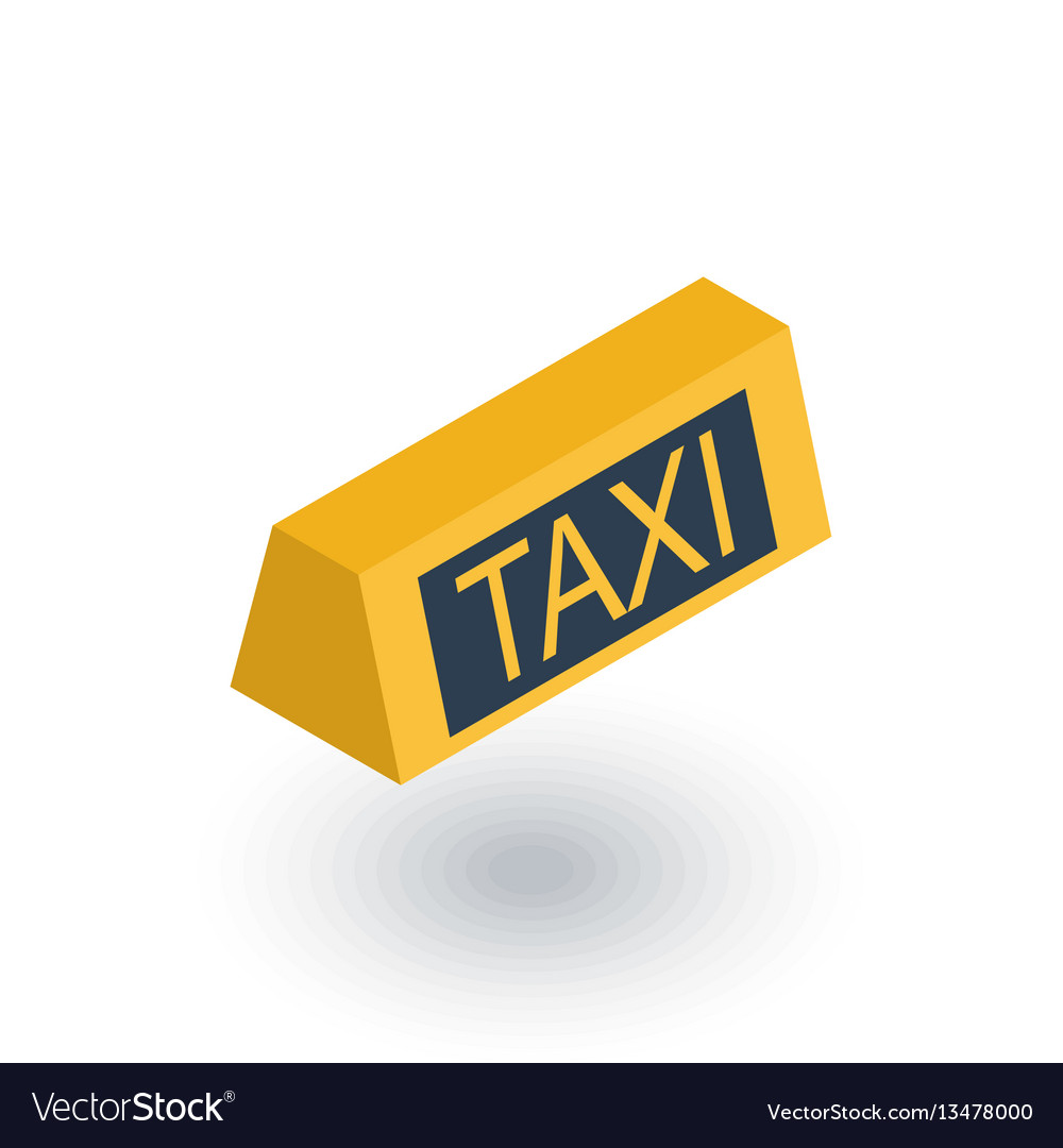 Taxi lamp isometric flat icon 3d