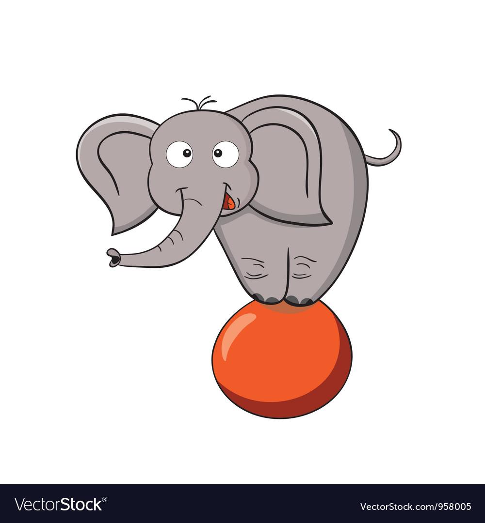 Cartoon elephant on a ball vector image