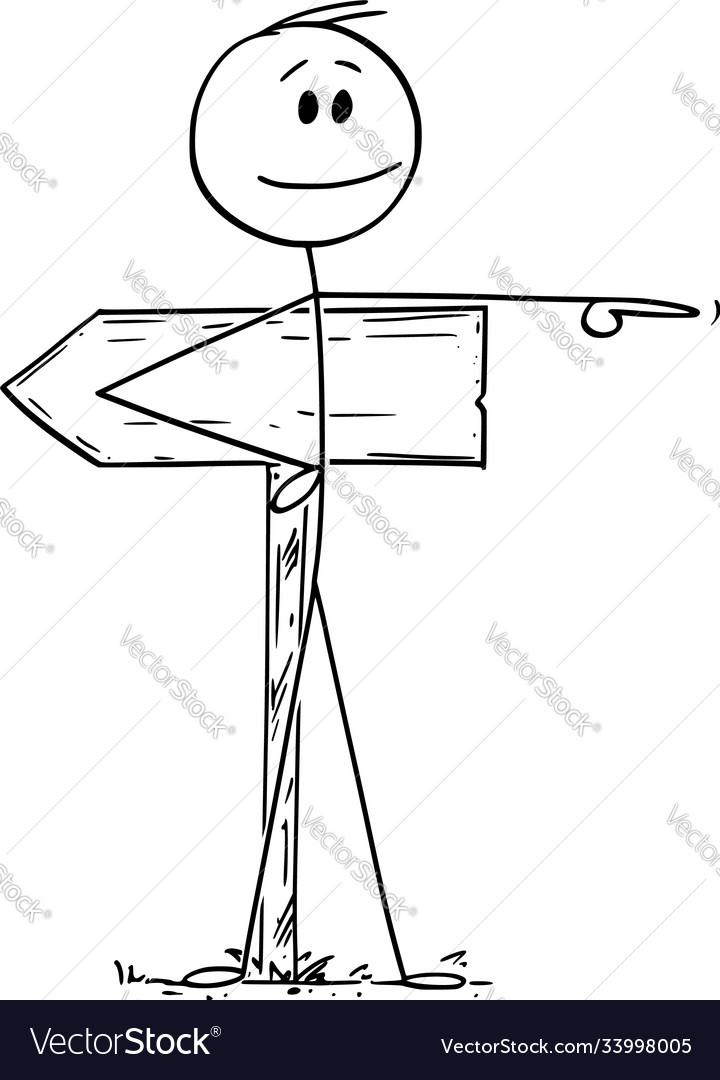 Cartoon man or businessman pointing