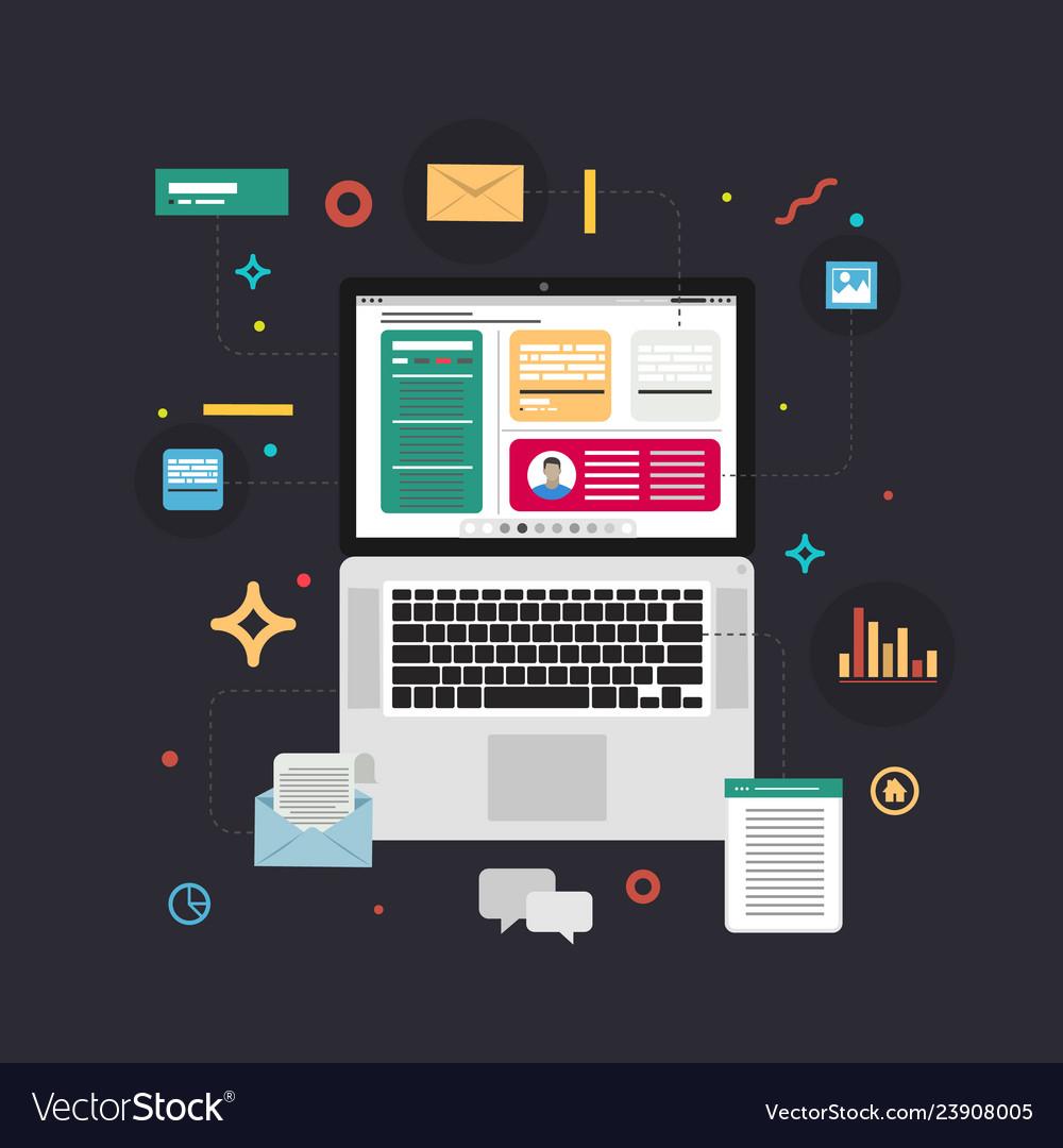 Content marketing concept in flat design