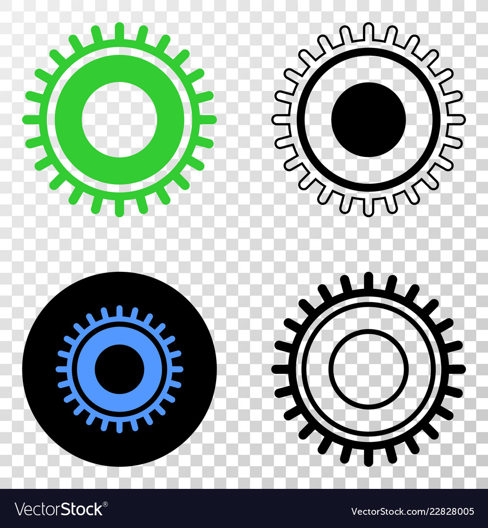Gear eps icon with contour version