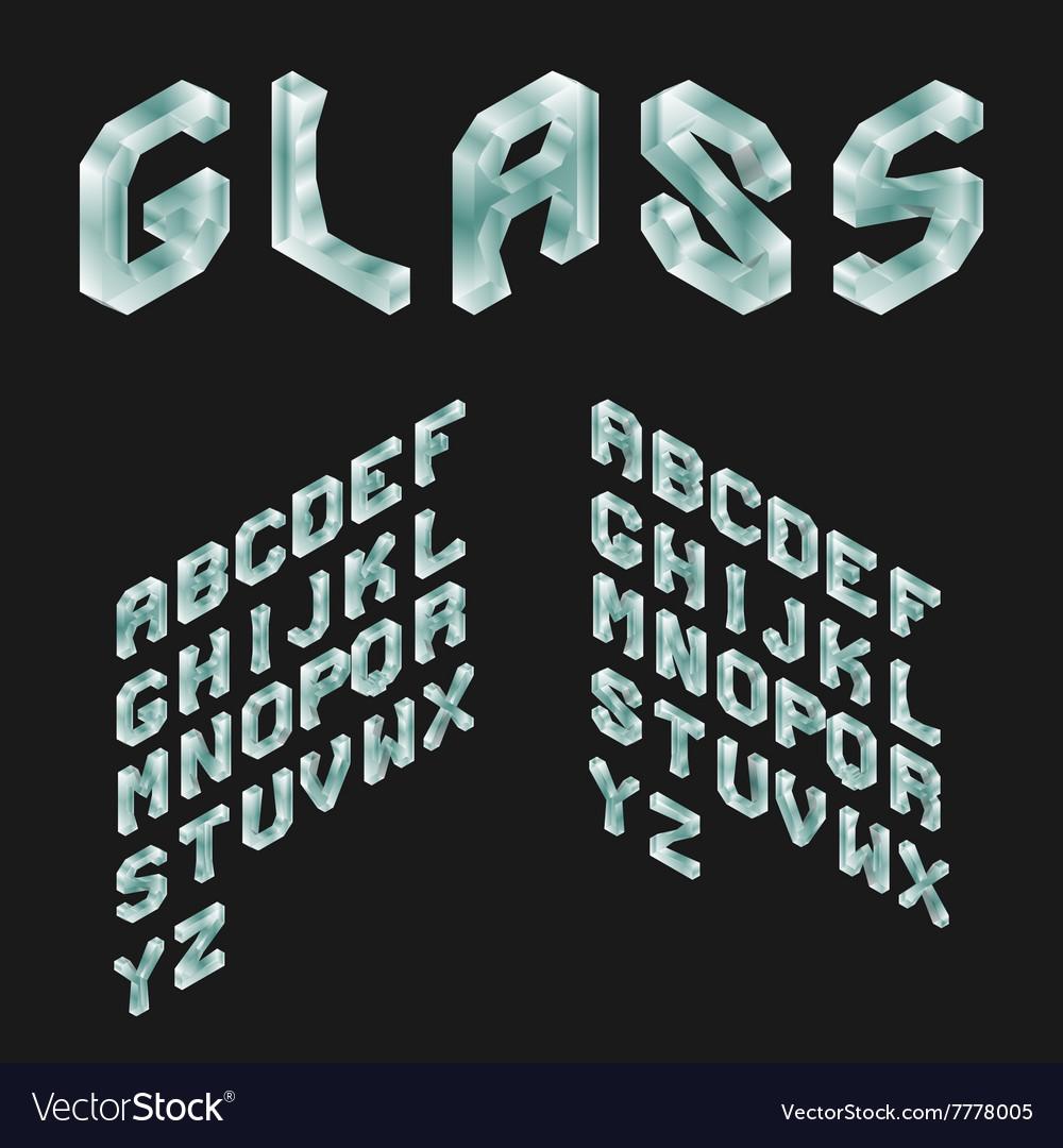 Glass Isometric Latin Alphabet 3D Geometric Font