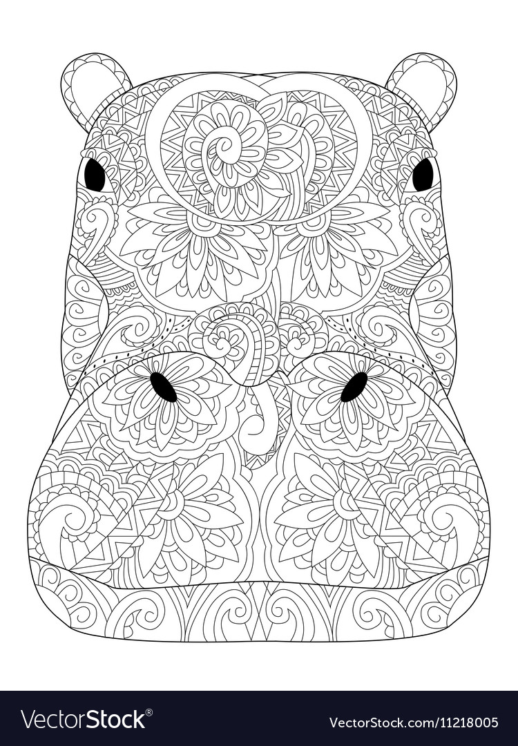 Head hippopotamus coloring for adults