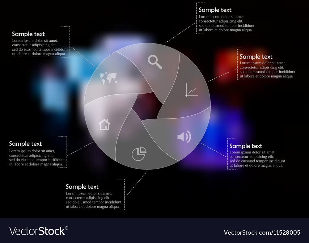Infographic template with circle divided to six