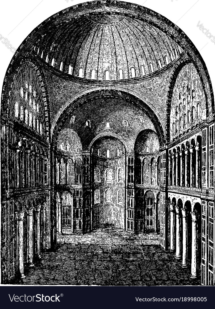 Interior of hagia sophia pillars vintage engraving