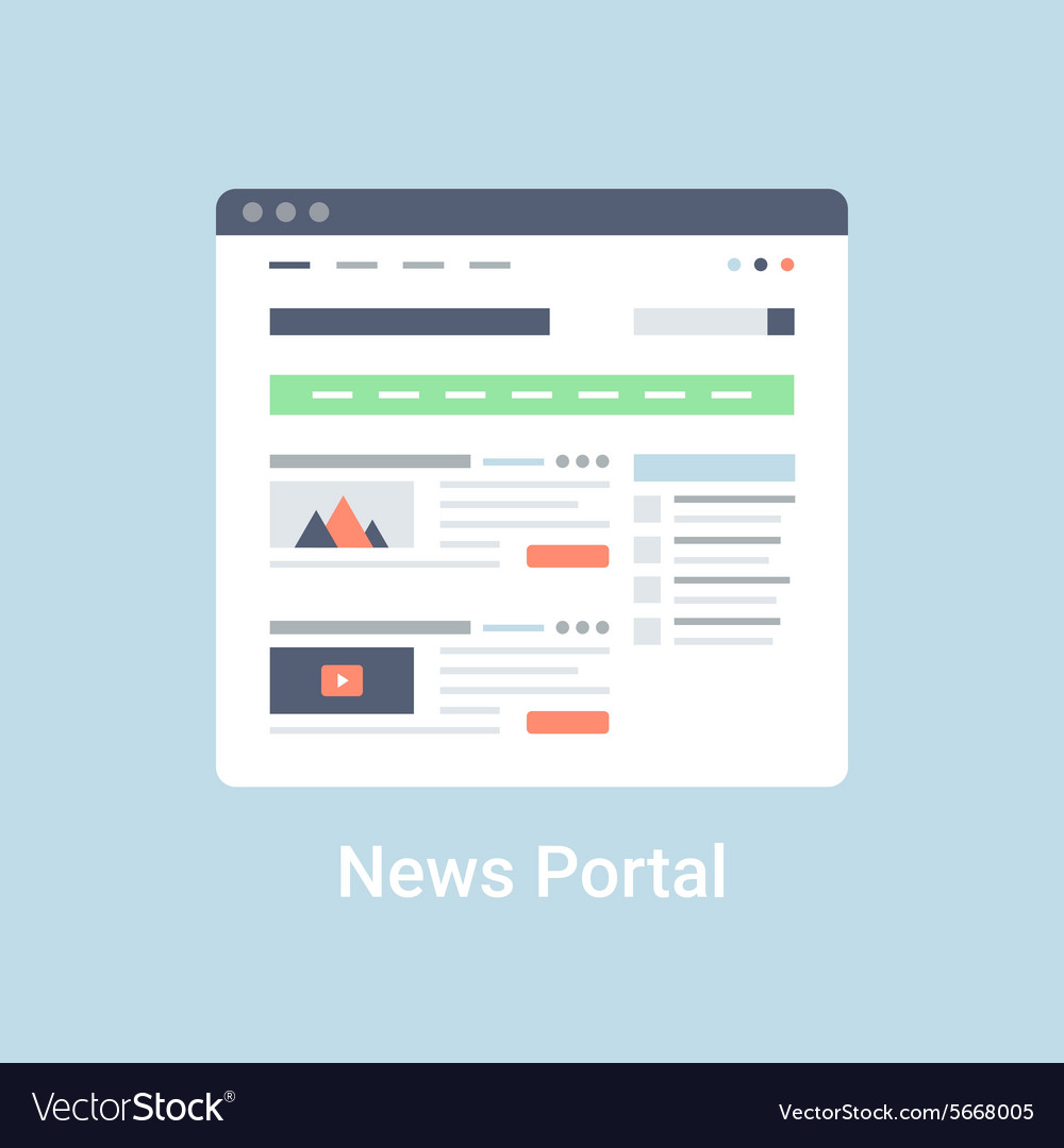 News Portal Wireframe Royalty Free Vector Image