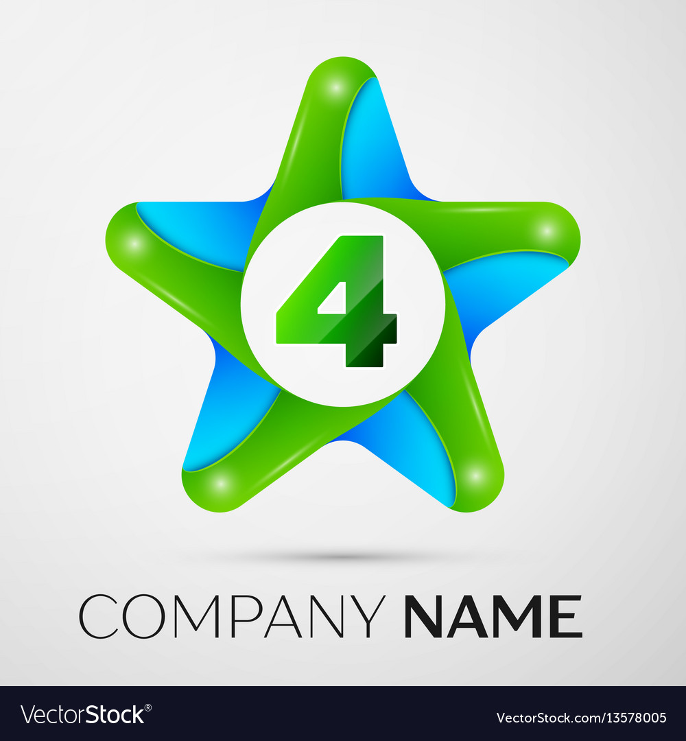 Number four logo symbol in the colorful star on