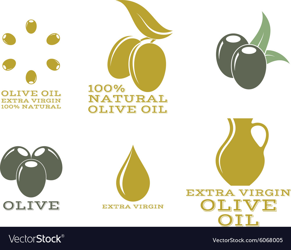 Olive oil Isolated labels and icons