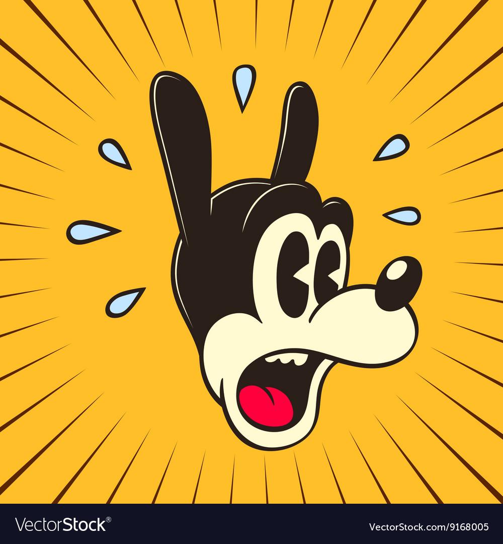 Retro cartoon amazed frightened cartoon character