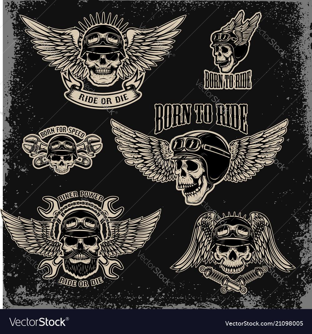 Set of emblems for biker club winged human skull