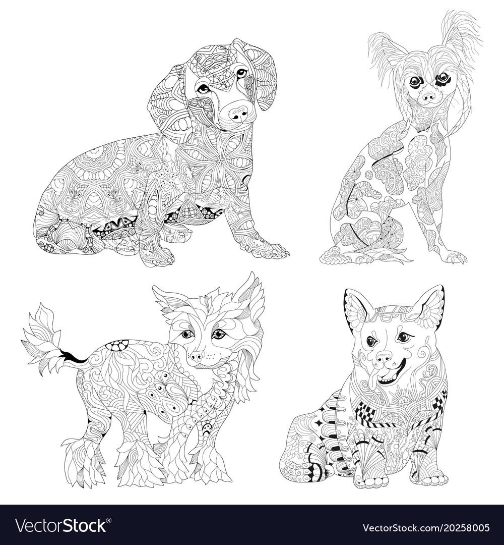 Set of zentangle stylized dogs hand drawn lace