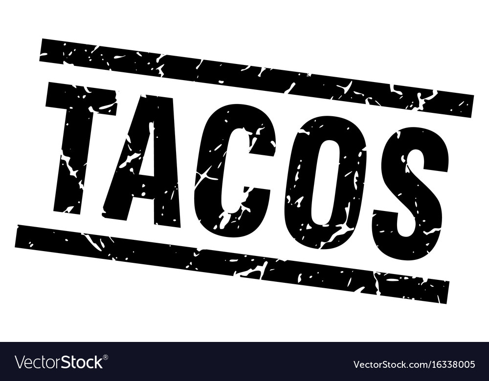Square grunge black tacos stamp