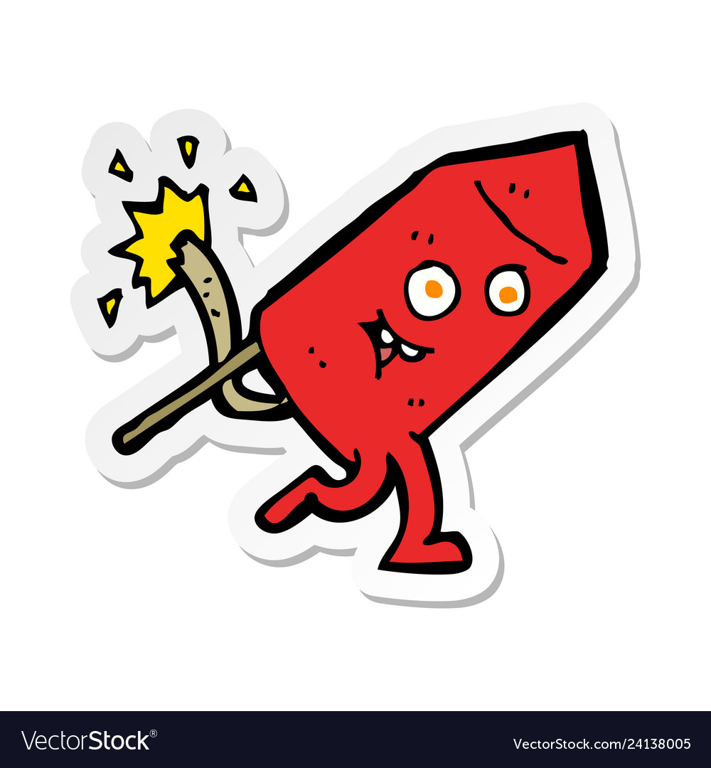 Sticker of a cartoon funny firework character vector image
