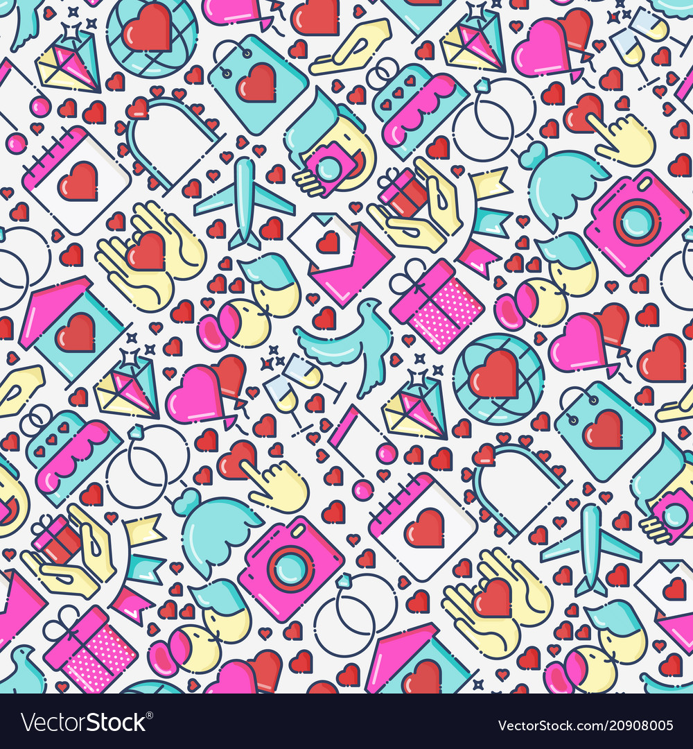 Wedding and love seamless pattern