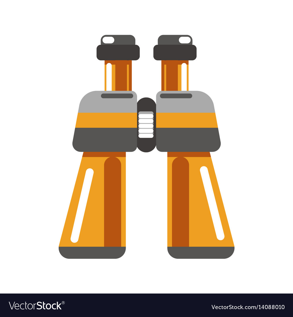 Binoculars device in orange color isolated on vector image