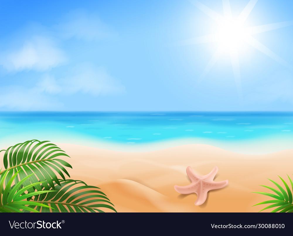Blue sky ocean and tropical beach golden sands