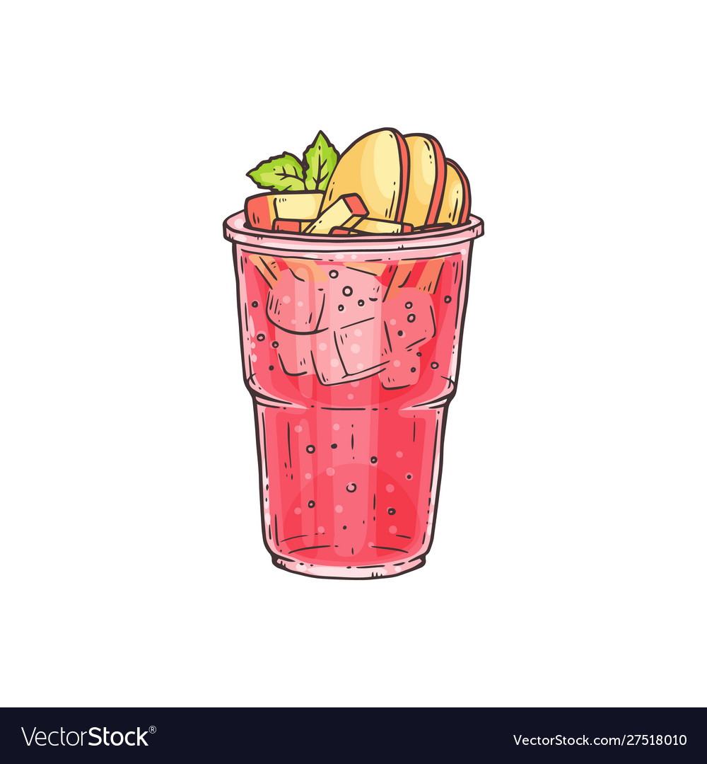 Bubble tea or summer ice cocktail in glass sketch