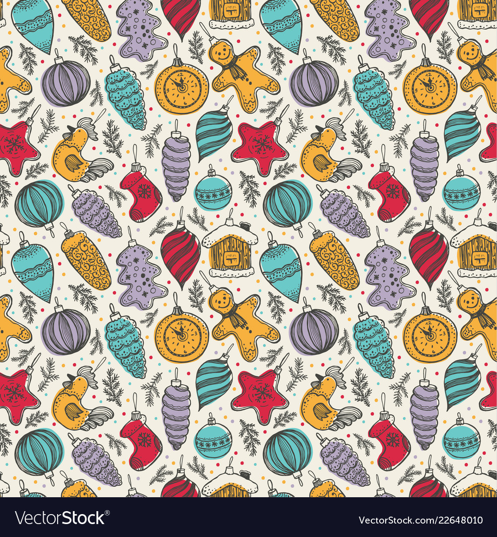 Colorful cute christmas elements seamless pattern