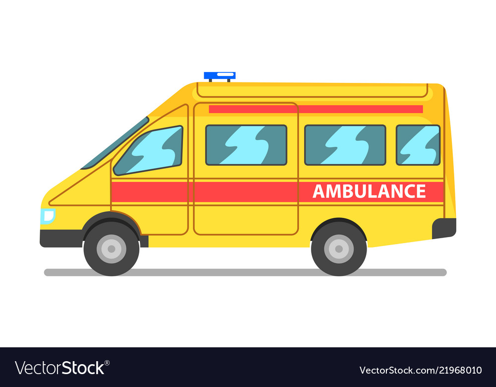 Emergency car yellow and red ambulance medical