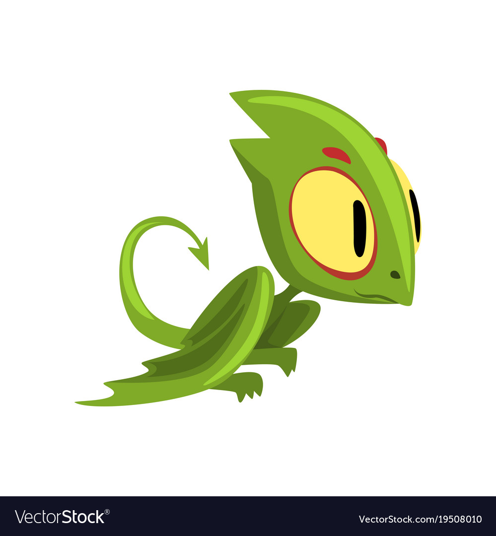 Funny green dragon with big eyes head and long