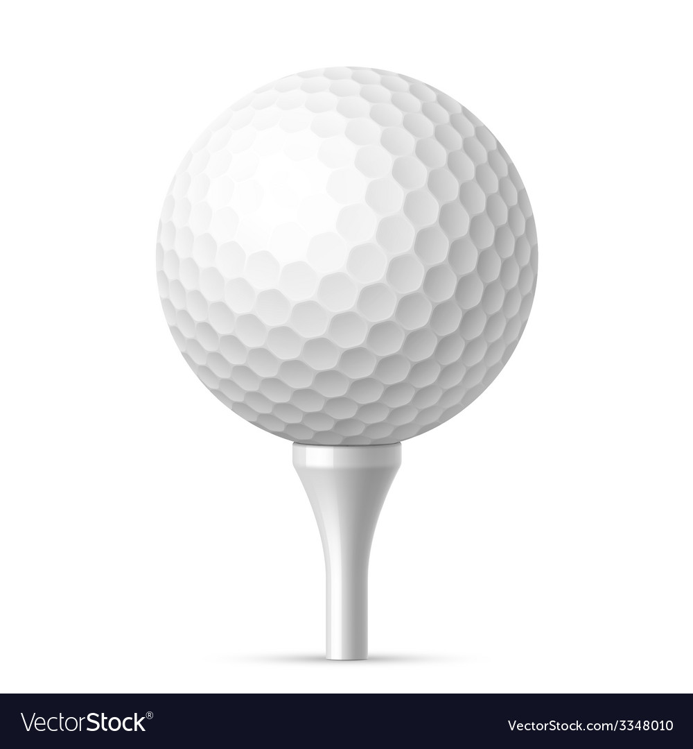 Golf Ball On White Tee Royalty Free Vector Image