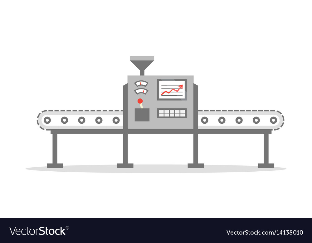 Isolated conveyor belt in flat design factory vector image