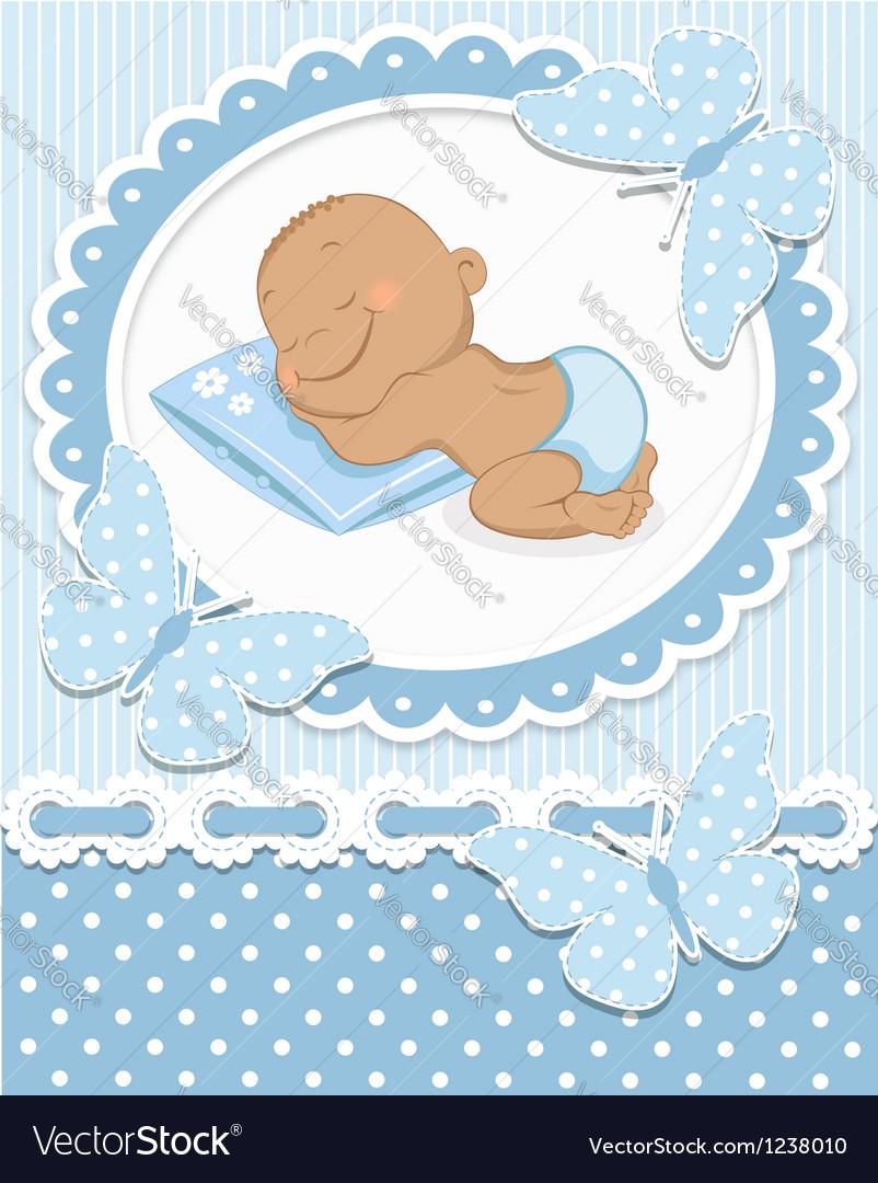Sleeping African baby boy vector image