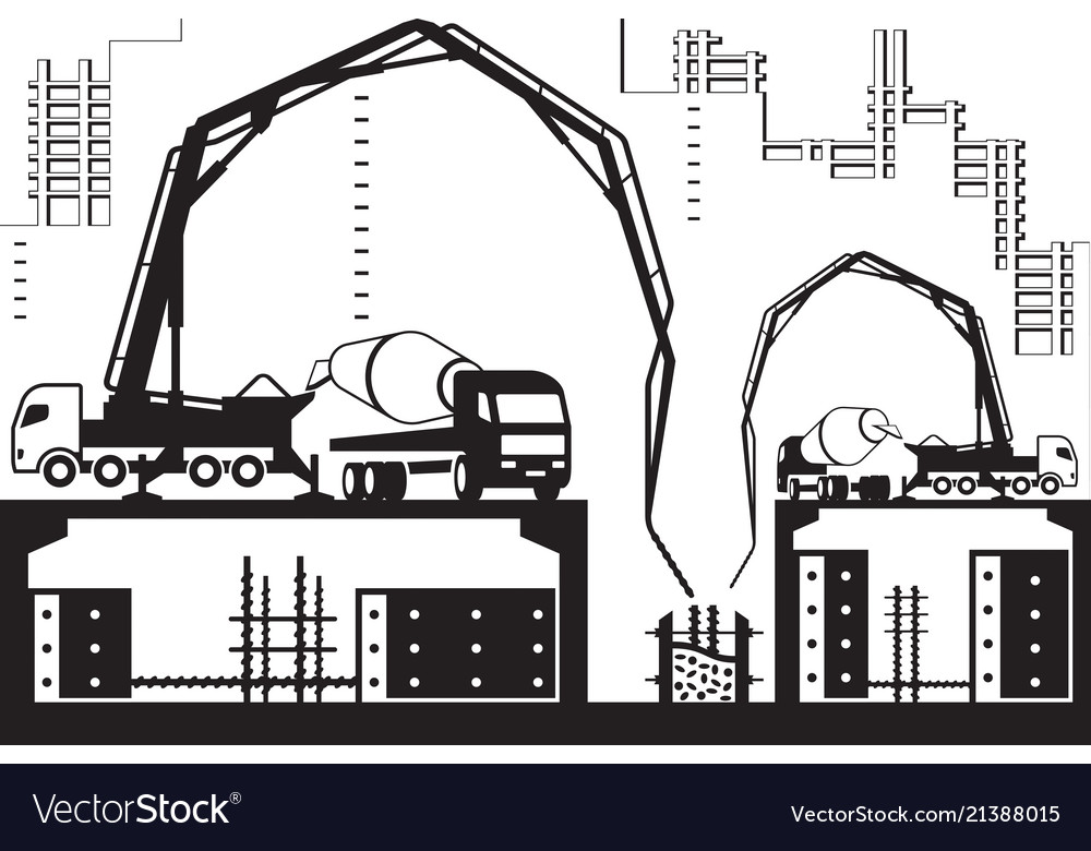 Concrete pump trucks on construction site