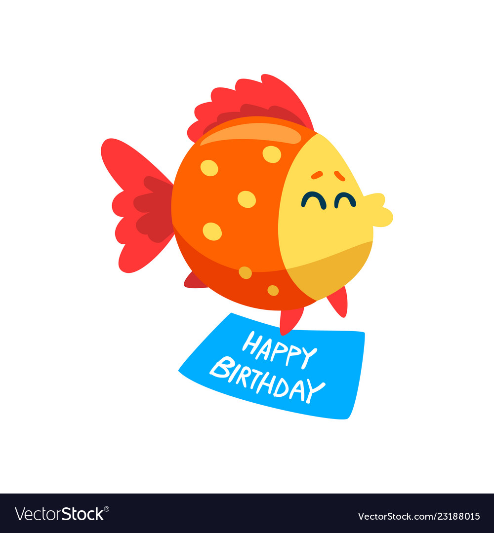 cute fish holding a happy birthday banner little vector image