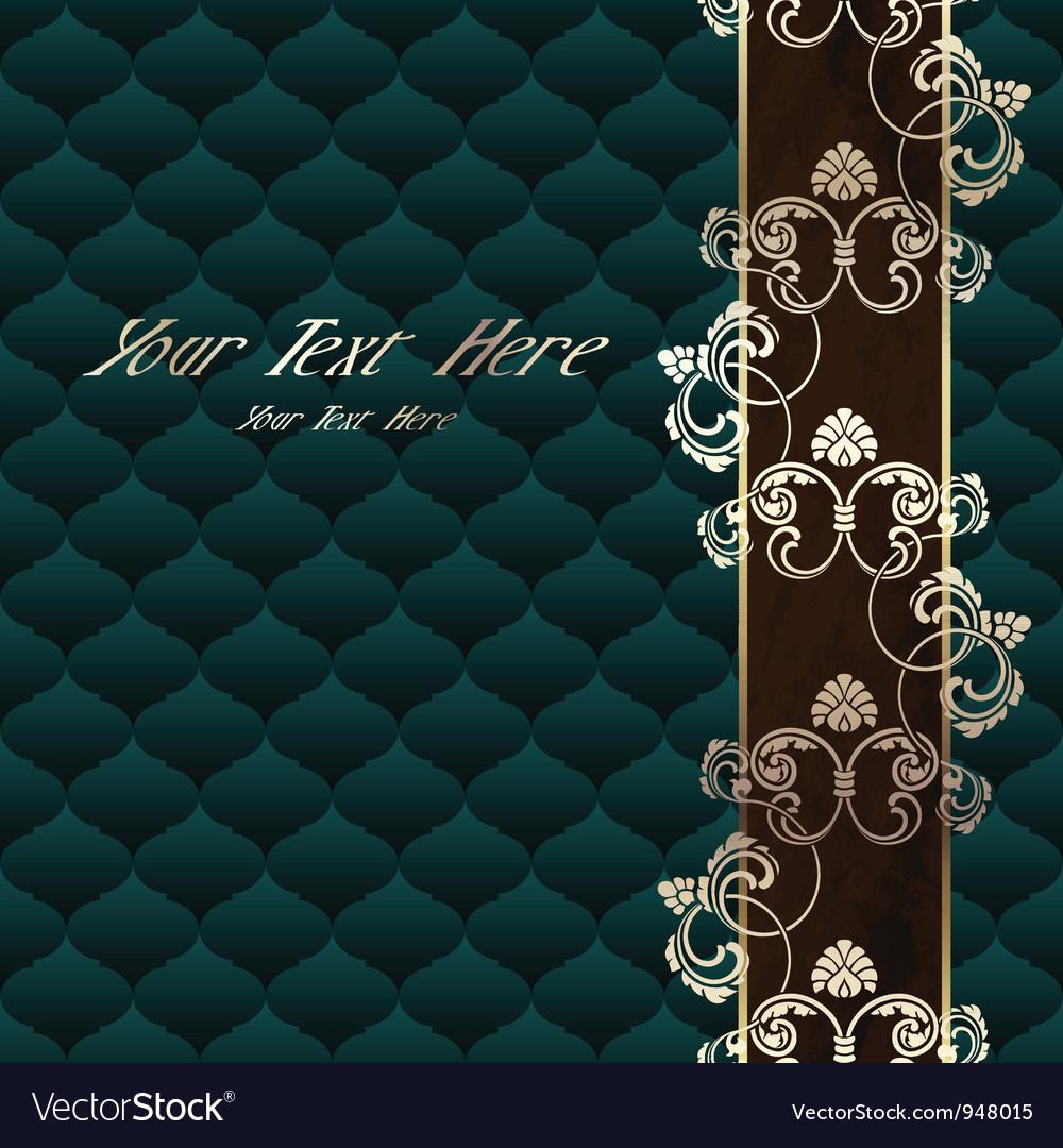 Elegant dark green Rococo background