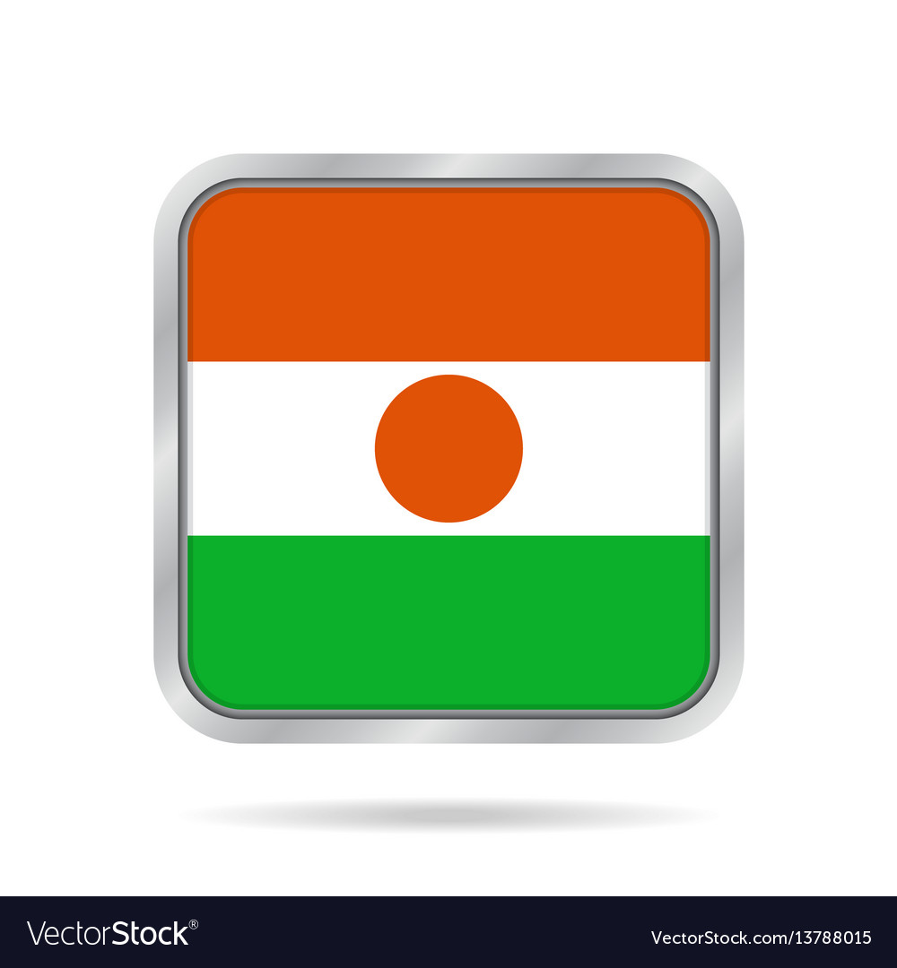 Flag of niger shiny metallic gray square button