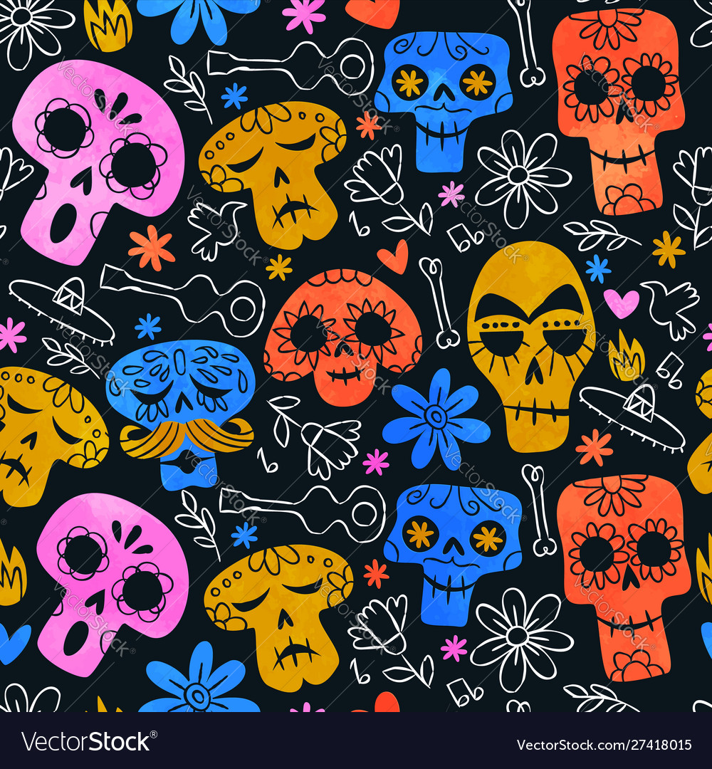 Funny mexican skull cartoon background pattern