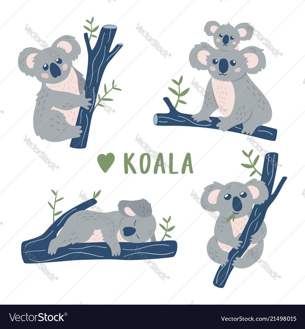 Hand drawn doodle koala bears collection cute