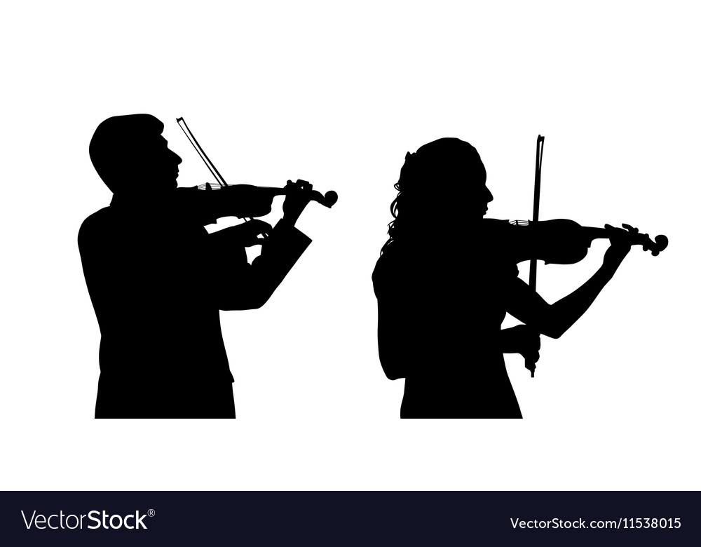 Male and female violinist vector image