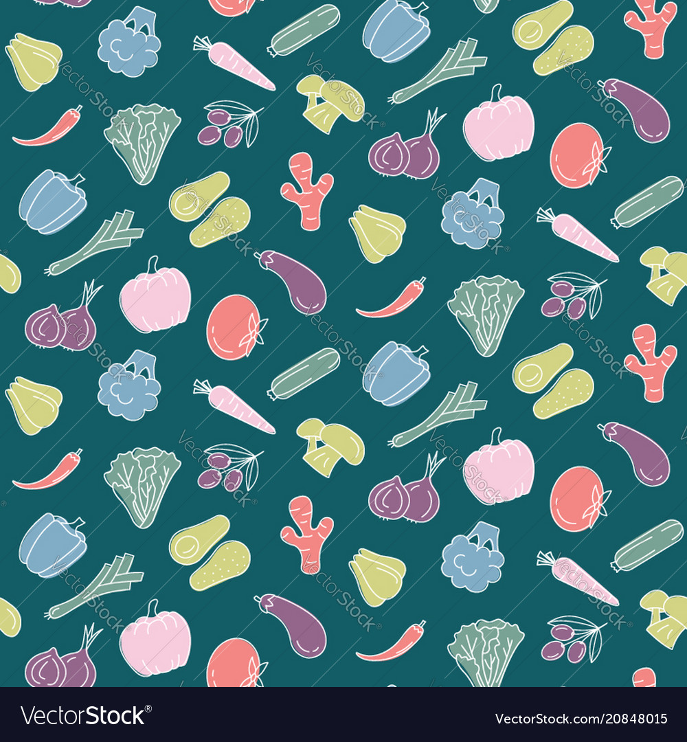 Seamless pattern with vegetables food print