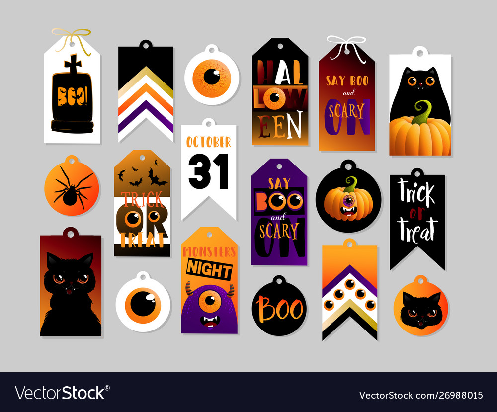 Set Halloween Gift Tags Cute And Scary Label Vector Image