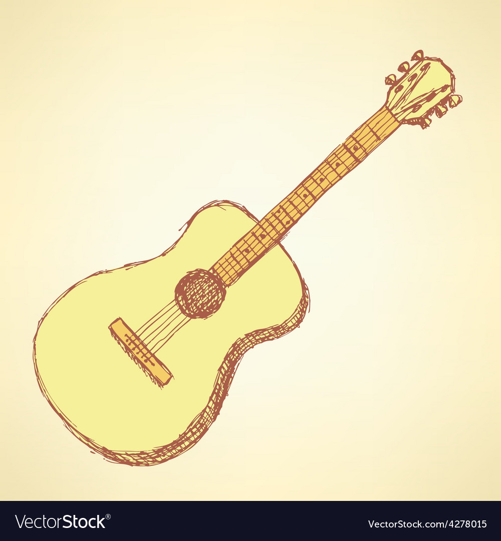 Sketch guitar musical instrument in vintage style vector image