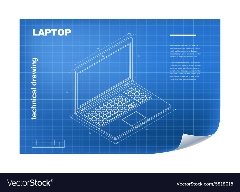 Technical with laptop drawing