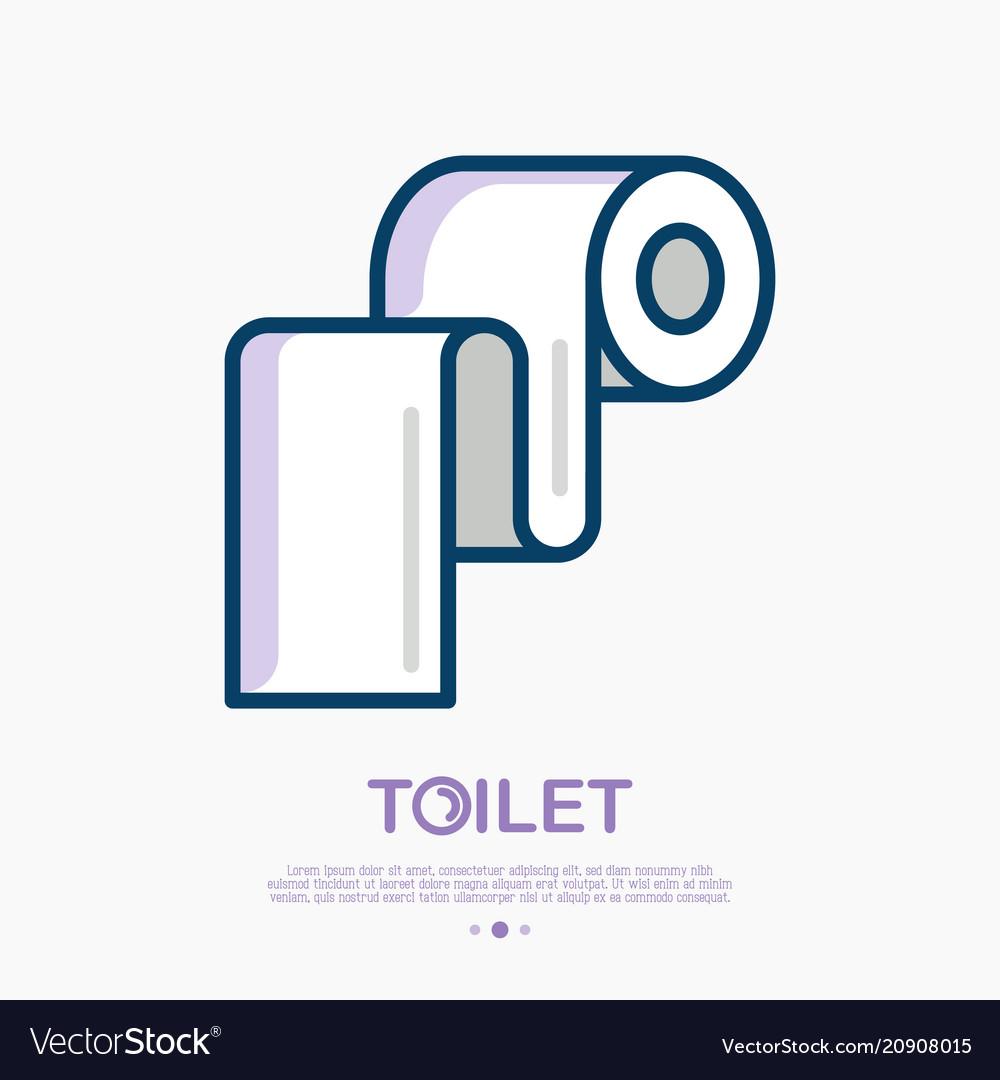 Toilet paper thin line icon