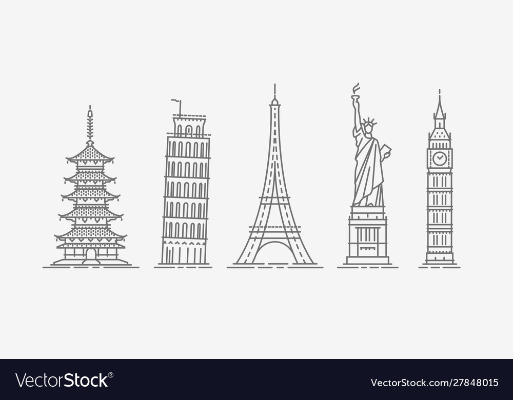 World architectural attractions travel icon set