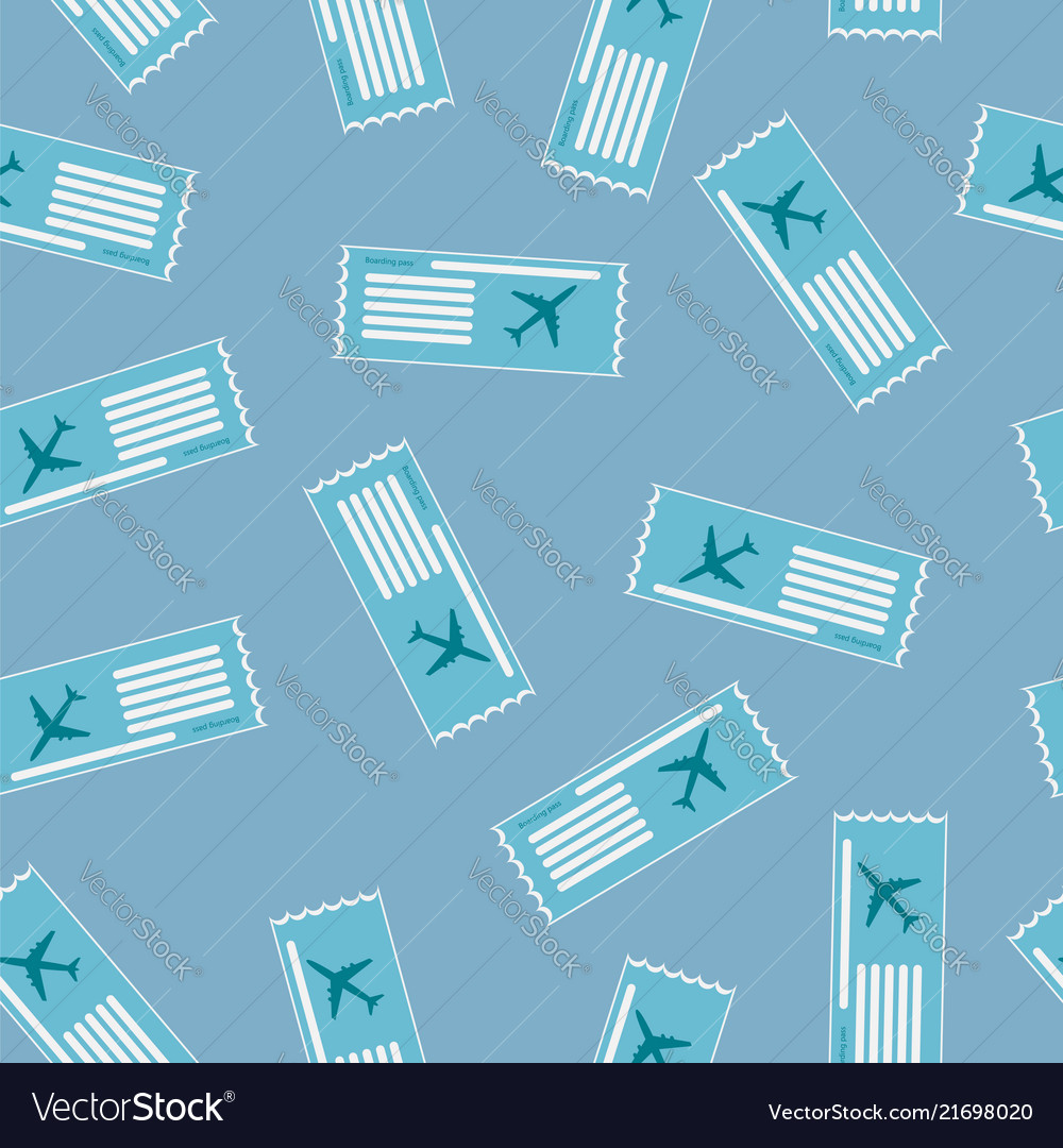 Airline boarding pass seamless pattern