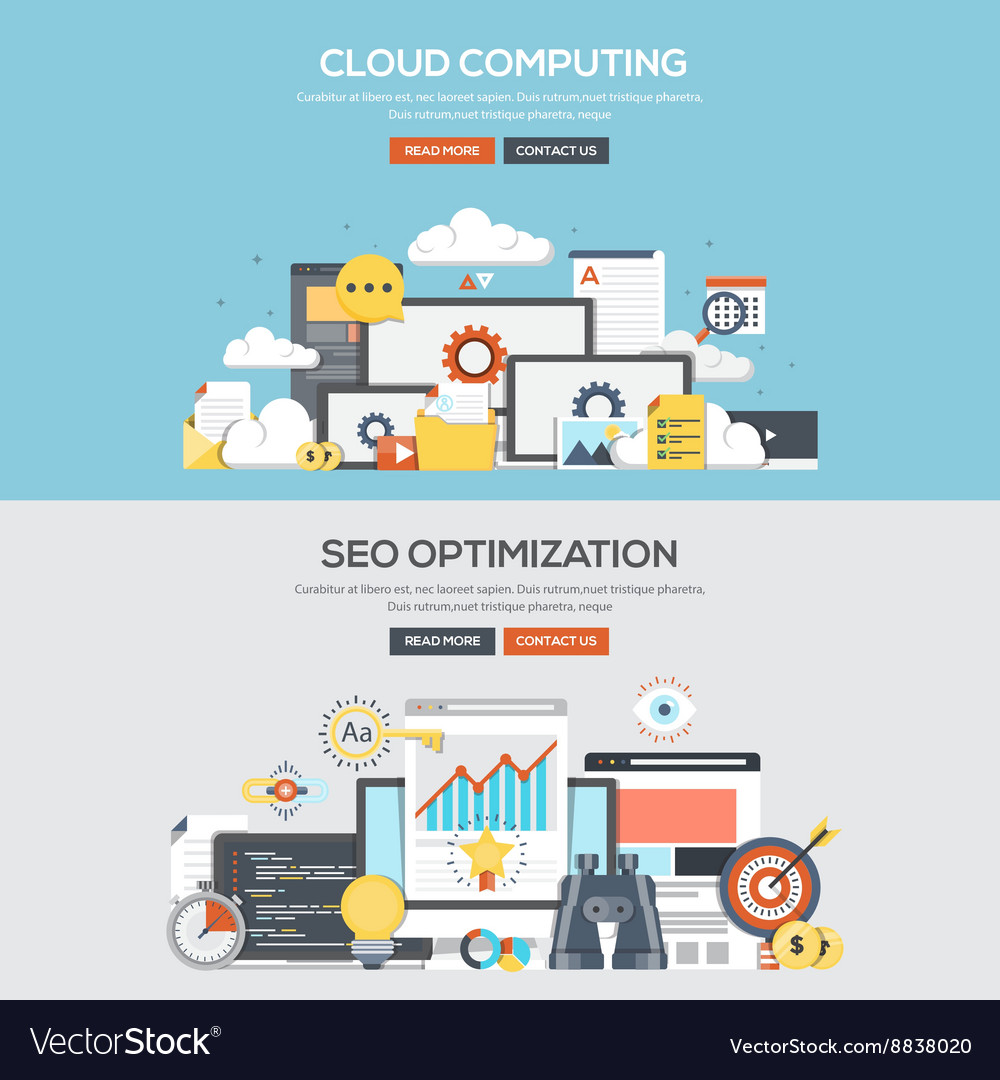 Flat design concept banner Cloud computing