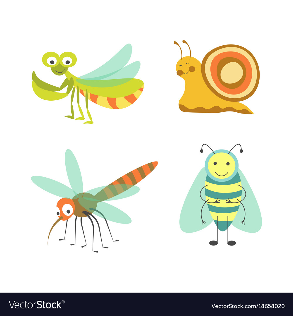 Funny insects with cheerful faces isolated