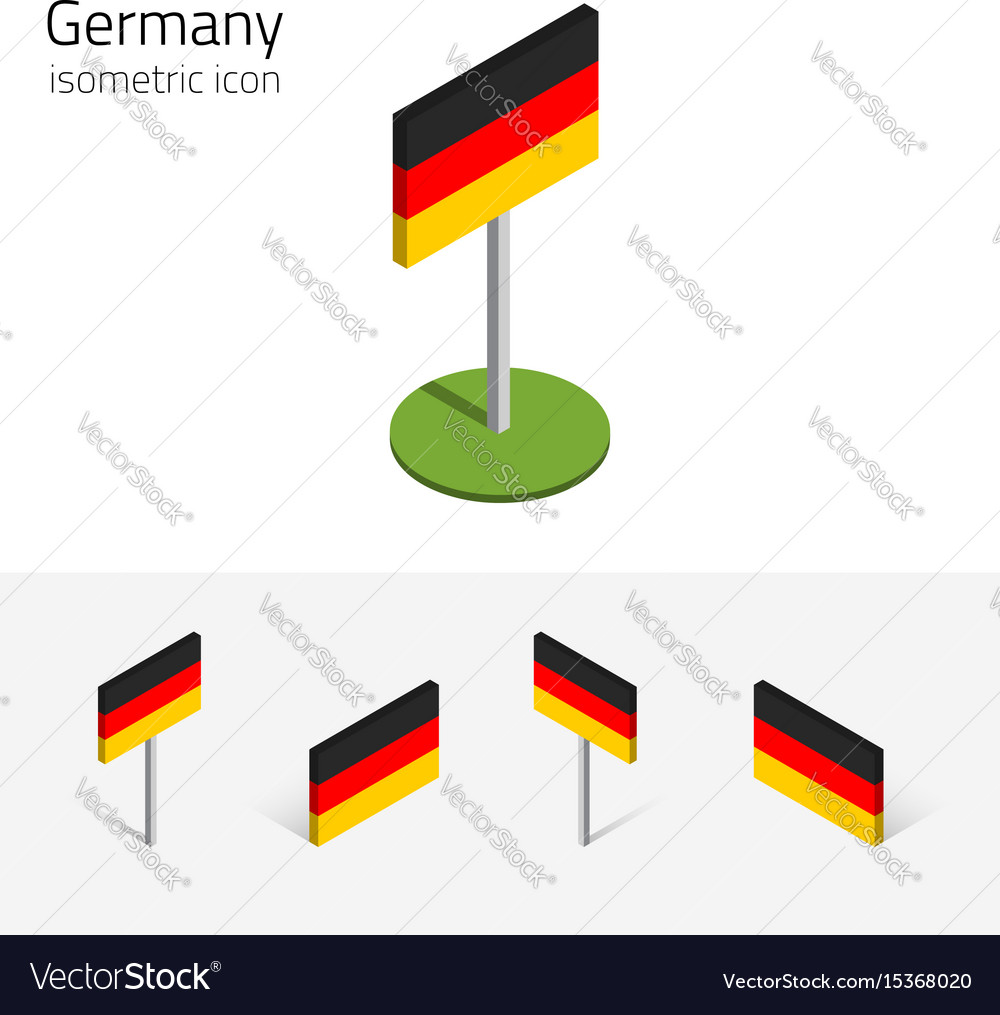 Germany flag set of 3d isometric icons