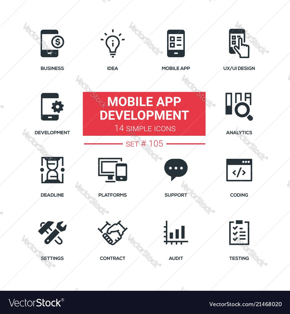 Mobile app development - flat design style icons