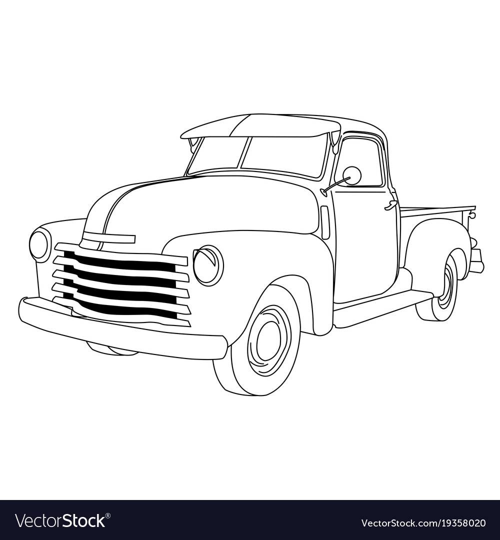 Old american pick-up truck - reto pickup car Vector Image