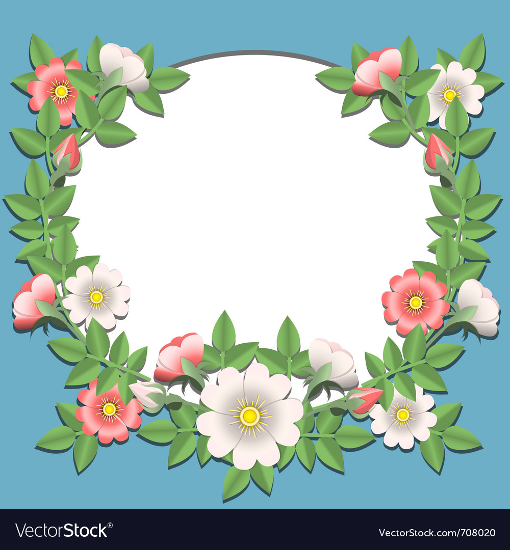 Paper Flowers Border Royalty Free Vector Image